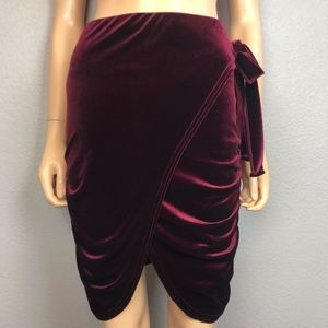 Missguided Velvet Wrap Skirt Side Tie Ruched